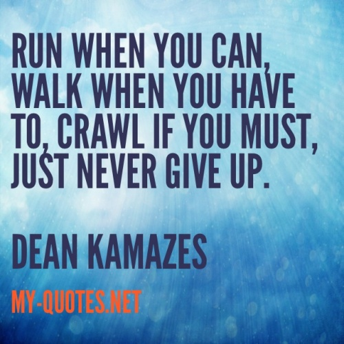 Run when you can, walk when you have to, crawl if you must, just never give up. Dean Kamazes
